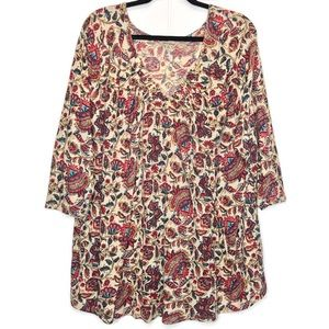 Lucky Brand Pullover Blouse Floral Boho Size 3X